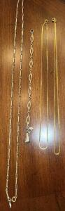 "SARAH COVINGTON 28"" NECKLACE AND BRACELET, 2 GOLDPLATED NECKLACES 18"""