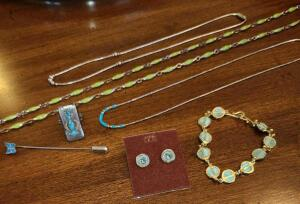 "JEWELRY: SOME SS AND TOURQOISE. 3 NECKLACES 16"" TO 30"", BUTTERFLY STICK PIN, RING,"