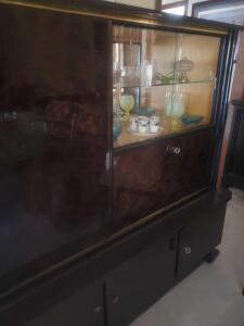 Fabulous, upscale locking china hutch with glass display area and lighted bar area