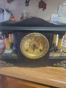 An antique seth thomas adamantine pendulum mantle clock, dated 1880