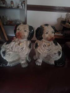 "A pair of authentic, large (14"" tall), staffordshire spaniels (circa mid 1800s)"