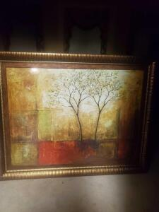 "A very large (44"" tall x 54"" wide), beautifully framed print by mike klung, titled ""morning luster"""