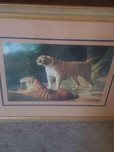 "A beautifully framed and matted print of Agasse's picture titled, ""a tiger and tigress at the exeter 'change menagerie in 1808 giclee"""