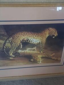 "A beautifully framed and matted print of Agasse's picture titled, ""two leopards lying in the exeter exchange"