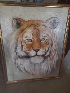 A striking oil on canvas painting of a tiger, 32 x 26