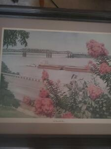 "A very nicely framed print by well known local artist Memphis Mississippi, titled ""by way of the river,"" 23 x 27"