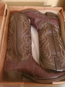 A pair of barely worn dan post teju lizard boots, size 10 1/2 ew