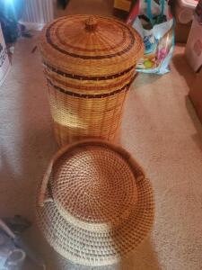 "A pair of baskets, the tall one is 24"" tall, 16"" diameter"