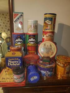 A large grouping of some serious vintage and Christmas tins