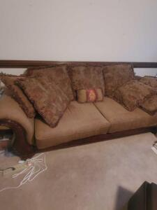 Lovely sleeper sofa with stunning wood trim,