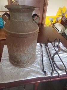 A vintage/antique milk can from otto milk in pittsburgh, a pair of ice tongs and 2 other vintage items