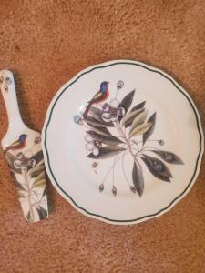 A beautiful Andrea cake plate and serving knife