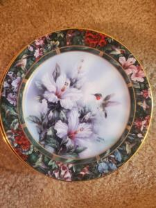 Four hand painted hummingbird plates, 8""