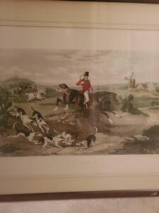 "Framed and matted fox hunt lithograph "" the death"" by famed artist w. Shatter, 28 x 36"
