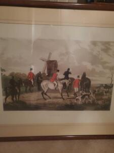 "Framed and matted fox hunt lithograph, "" the meet"" by famed artist w. Shatter, 28 x 36"