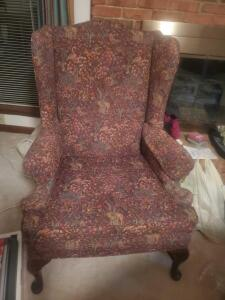 "A beautiful queen anne style wing back chair, seat is 17"", back is 42"", 30"" across"