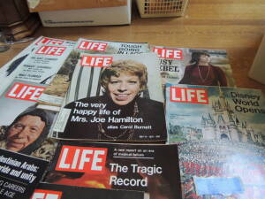 Collection of Life Magazines from early 70s, Look Magazine from 1958 with Princess Grace, and Collier`s Magazine with Princess Grace from 1957.  Life