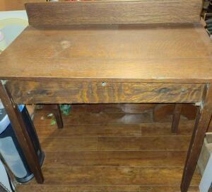 "WONDERFUL ANTIQUE DESK 32.25"" TALL X 36"" WIDE X 20"" DEEP. LARGE DRAWER WITH DIVIDERS."