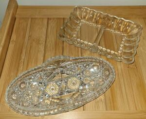 "CUT GLASS OVAL RELISH TRAY 8"" X 4"" AND GLASS DIVIDED RELISH DISH 7"" X 4.5""."