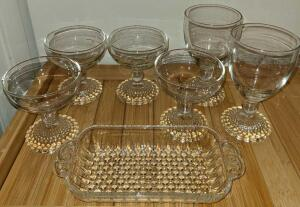 "BOOPIE GLASS: 4 DESSERT CUPS 4"", 2 GLASSES 6"" AND TRAY 8"" X 4"". NO CHIPS OR CRACKS"