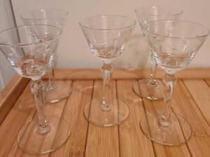 "5 CUT GLASS CORDIALS 6"". NO CHIPS OR CRACKS"
