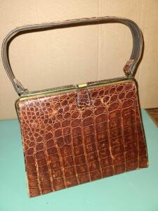VINTAGE ALLIGATOR BAG. GREAT SHAPE FOR AGE