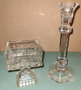 "VINTAGE SQUARE COMPOTE BOWL 4.5"" TALL, 3.5"" SQUARE AND 8.5"" GLASS CANDLESTICK"