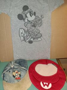 "DISNEY COLLECTIBLES: DENIM GOOFY BASEBALL CAP, MARIO BROTHERS CAP, AND MICKEY INC CHILD""S TEE"