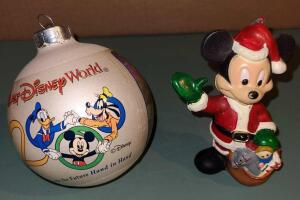 "DISNEY COLLECTIBLES: CHRISTMAS ORNAMENTS 4"" MICKEY MOUSE AND 4"" 2000 DISNEY WORLD BALL"