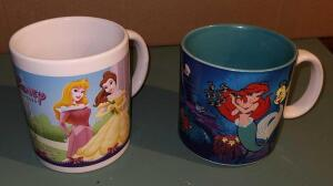 "DISNEY COLLECTIBLE MUGS: 3.5"" LITTLE MERMAID MUG AND 4"" DISNEY PRINCESSES."