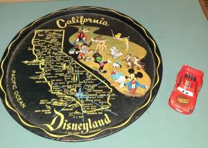 "DISNEYLAND COLLECTOR TRAY 10"" AND DISNEY DIE CAST LIGHTENING MCQUEEN."