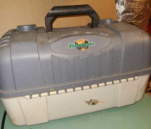 "FLAMBEAU OUTDOORS TACKLE BOX 10"" TALL, 18"" WIDE, 11"" DEEP. HAS DRINK HOLDERS ON TOP. SIDE LATCHES."