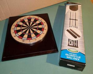 "GAME ROOM: WOODEN BILLIARD CUE WALL RACK ""NEW"" IN BOX AND SMALL DART BOARD 10"" X 9"", BASEBALL ON"