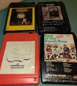 4 EIGHT TRACK TAPES: LED ZEPPELIN, CHICAGO VOL III & IV, BEST OF BEACH BOYS AND SATURDAY NIGHT FEVER