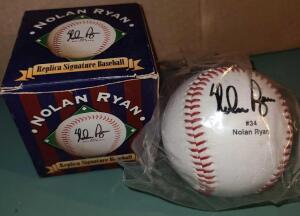 "NOLAN RYAN #34 REPLICA SIGNATURE BASEBALL ""NEW"" IN BOX"