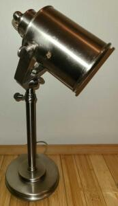 "VERY NICE BRUSHED NICKLE FINISH ADJUSTABLE DESK LAMP 15"" TO 19"". BASE 5"""
