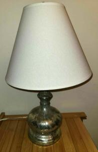 "20"" DISTRESSED LOOK SILVER LAMP WITH 13"" SHADE AT WIDEST"