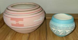 HANDCRAFTED & HANDPAINTED NATIVE AMERICAN SIGNED BOWLS.