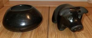 "HANDCARVED BLACK OYNX NATIVE AMERICAN SIGNED PIECES. BOWL 1.5"" X 2.5"". PIG 1.5"" X 2.5"""
