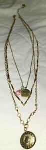 3 NECKLACES IN 1. LOCKETT, CHAIN, CHAIN WITH DOUBLE PENDANT 21""