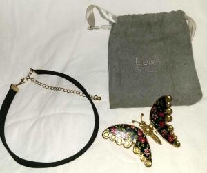 VELVET CHOKER AND BELIEVE BY BRILLIANCE BUTTERFLY PIN WITH MOVEABLE WINGS