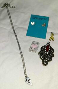 3 PENDANTS, HEART EARRINGS & BEST FRIEND NECKLACE 15""