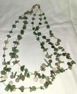 GEMSTONE JADEITE MAYBE 3 STRAND NECKLACE 15""