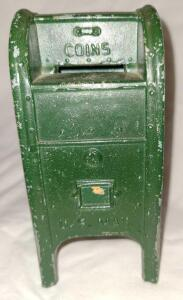 "ANTIQUE CAST ALUMINUM US MAIL COIN BANK 5.75"" X 2.5"" X 2.5"""