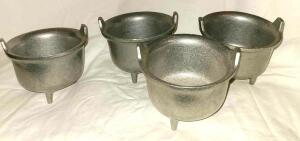 4 WILTON ARMETALE (3 LEGGED) PEWTER CAULDRON BEAN POTS