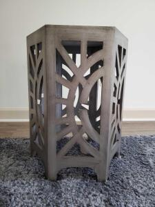 "Hexagon accent table. 17 x 15 x 22"" tall."