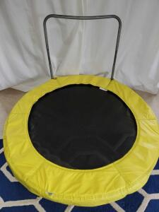 "Exercise trampoline with adjustable safety hold-bar. 48"" diameter. 9 "" tall."