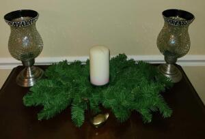 "DECOR ITEMS: GLASS AND METAL CANDLE HOLDERS 11.5"" TALL X 5"" WIDE, A CANDLE AND GREENERY, AND A"