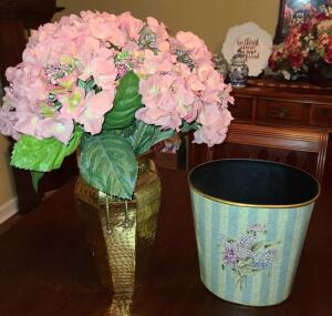 "BRASS PLANTER13"" TALL WITH SILK HYDRANGEAS AND A VICTORIAN LOOK WASTE CAN 10""."
