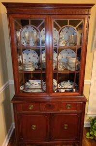 "EXQUISITE ANTIQUE CHINA CABINET, 71"" TALL X 36"" WIDE X 16"" DEEP. CONTENTS NOT INCLUDED. GLASS"